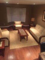 Leather couch set with free leather chair