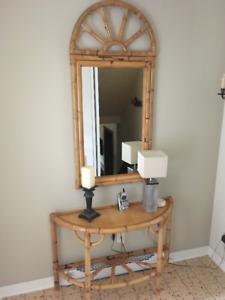 Table console et miroir en bambou