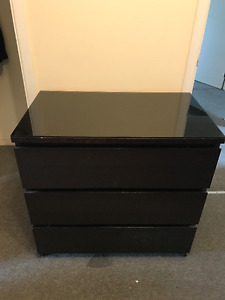 Ikea 3-Drawer Dresser /w Glass Top in Great Condition