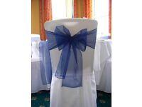 200 New navy blue chair cover bow organza sash