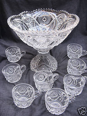 1905 PressedGlass Imperial Indian Sunset 10pc Punch Set