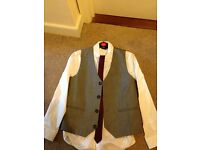 Boys shirt, waistcoat and burgundy tie Next