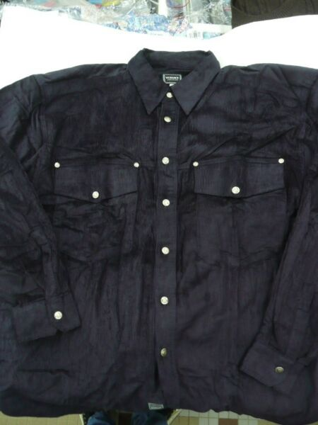 Gianni Versace Jeans Couture MEN BLACK Corduroy Shirt w/Silver Medusa Buttons XL/XXL BIG SIZE MEN