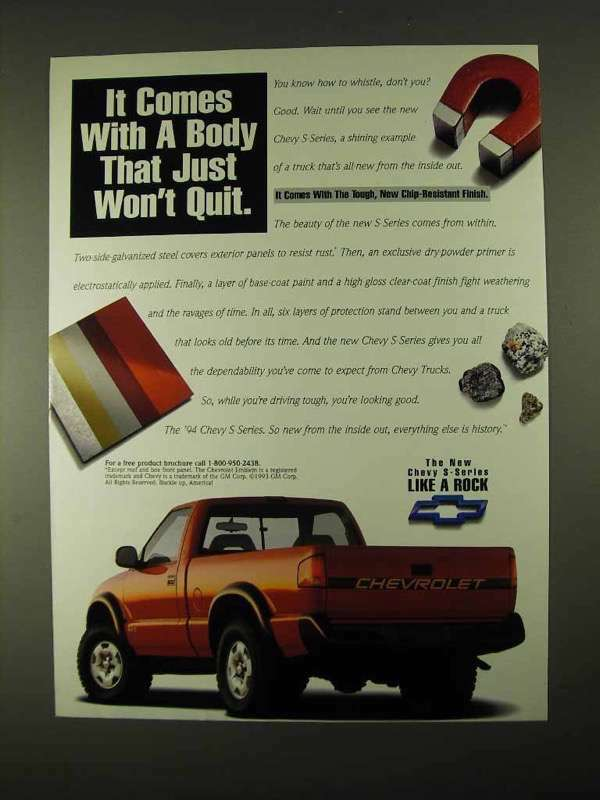 1994 Chevrolet S-10 Pickup Truck Ad - Just Won