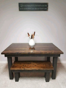Real wood custom farmhouse table