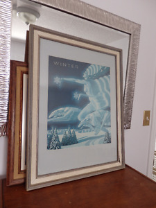 Running Borzoi with woman art deco,  titled winter.