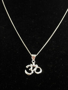 """Om"" 925 sterling silver necklace"
