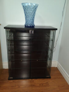 DVD or CD display cabinet - black wood and glass