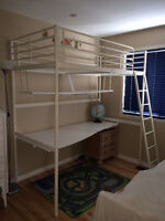 Ikea white metal bunk bed with desk