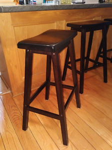Stools -set of 3 matching brown wooden stools
