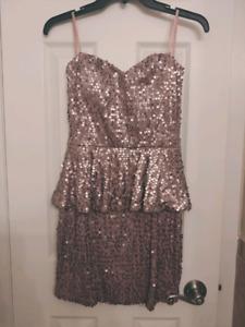 Never worn soft pink sequin dress