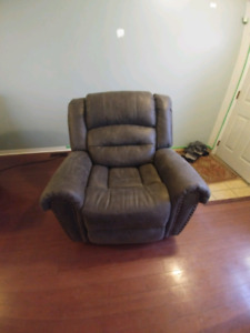 Grey Fabric Suede Imitation Reclining Chair