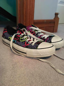 CONVERSE ALL STAR BLACK CANVAS PEACE SIGNS FLORAL GRAFITTI SHOES