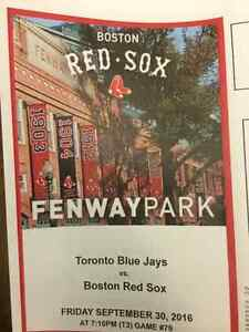 Red Sox and Blue Jays Friday Sept 30