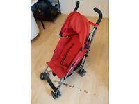 Maclaren Triumph Stroller Buggy Pushchair in RED + Rain cover
