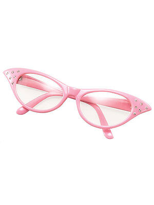 Pink 50s 60s Style Rock N Roll Dame Edna Specs Fancy Dress Glasses Ladies - Dame Edna Kostüm
