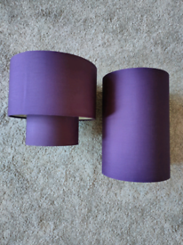 Lamp and ceiling shades matching purple pair