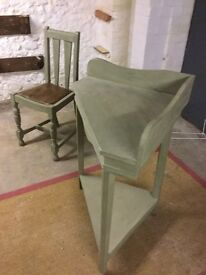 Corner unit and chair painted in Annie Sloane paints