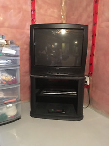 """22"""" Black RCA tube TV and stand for sale"""