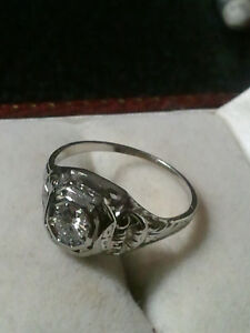 stunning 18 k white gold diamond ring about 100 years old