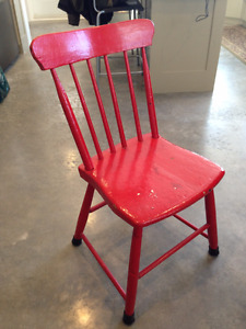 Antique chair - unique, red, solid wood