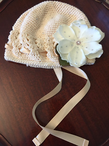 Little Girl Hair Bonnet/ Hat with flower accent