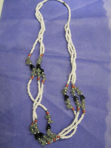 Gorgeous beaded long necklace-White, jade, black, silver & ochre