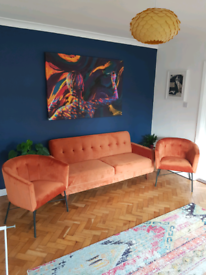Burnt Orange 3-seater sofa & 2 chairs