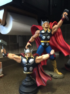 THOR STATUE AND TWO THOR BUSTS