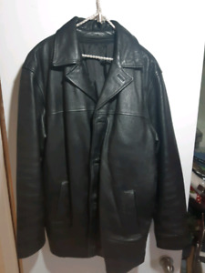 Men's xl black leather jacket with winter liner
