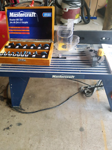 Mastercraft router table and plunge router with extra 15 bit set