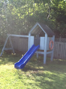 Childrens Sturdy Custom Built Treehouse with Slide and Swings