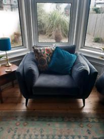 RRP £579 Barker & Stonehouse Boone Large Dark Grey Velvet Armchair