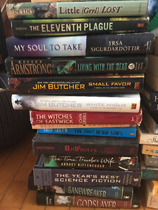 Lots of books, mostly sci fi/ fantasy