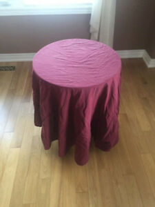 Round table with table cloth