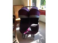 Baby jogger city mini double with carrycot in purple