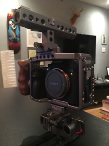 Camera Sony a7s2 with Tilta Cage, 8 batteries and 3 chargers