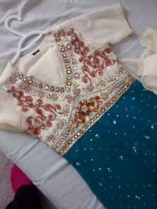 Blue and cream color – sparkle Anarkali - Indian Clothing