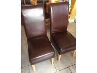 2 X faux leather chairs