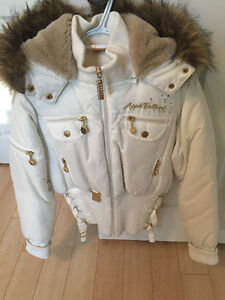 WHITE APPLE BOTTOM BOMBER JACKET WITH FUR & GOLD ACCENTS Windsor Region Ontario image 1