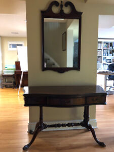 Wall Mounted Mirror and Matching Table