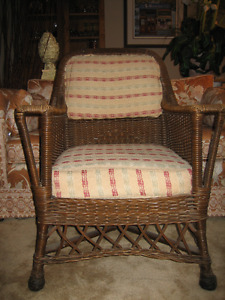 set of 2 antique old Muskoka wicker chairs