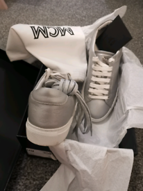 Mcm low top silver trainers/sneakers size 4