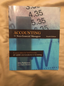 ADMS 1500 - Accounting for Non-Financial Managers, 4th Edition