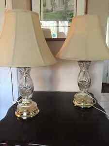 Pair Pinwheel Crystal Lamps
