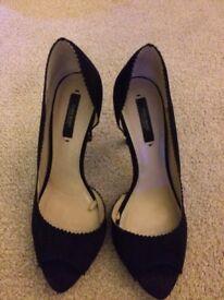 Zara black suede shoes size 5