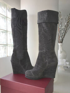 Grey Genuine Suede Women's Tall Knee High Wedge Boots