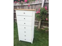 Up cycled Solid Oak Tall Chest of Drawers / Can Deliver