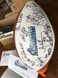 1997 Greycup Argos signed football (letter authenticity)