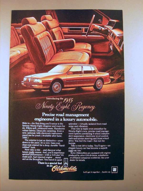 1985 Oldsmobile Ninety-Eight Regency Car Ad!
